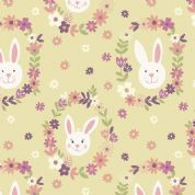 Lewis & Irene Bunny Garden - 4425 - Rabbit Faces on Sunshine Yellow - A146.3 - Cotton Fabric